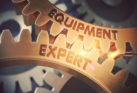 Ausrüstung Expert Concept. Goldene Gänge 3D Abbildung.