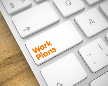 Arbeitspläne - Nachricht auf White Keyboard Keypad. 3D Lizenzfreie Bilder
