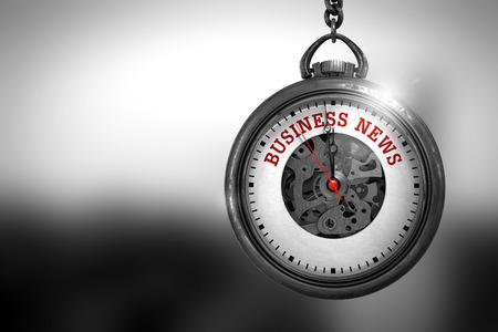Business News on Pocket Watch. 3D Illustration. Lizenzfreie Bilder