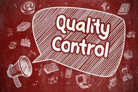 Qualitätskontrolle - Handgezeichnete Illustration auf roter Tafel.