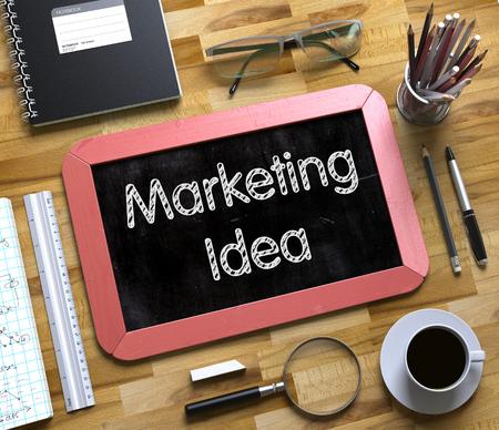 Marketing-Ideen-Konzept auf kleinen Tafel. 3D