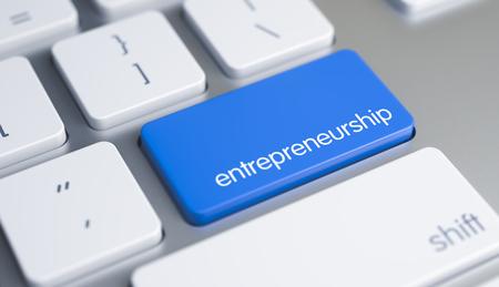 Entrepreneurship - Text auf dem blauen Keyboard Button. 3D