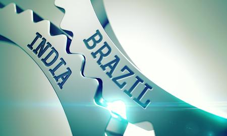 Brazil India - Mechanism of Metallic Gears. 3D.