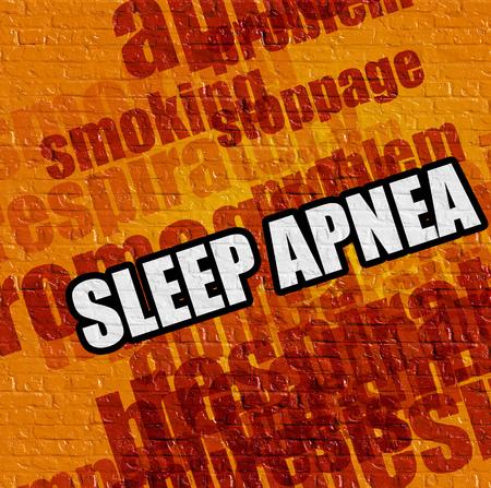 Gesundheitskonzept: Schlafapnoe auf gelbem Brickwall. Lizenzfreie Bilder