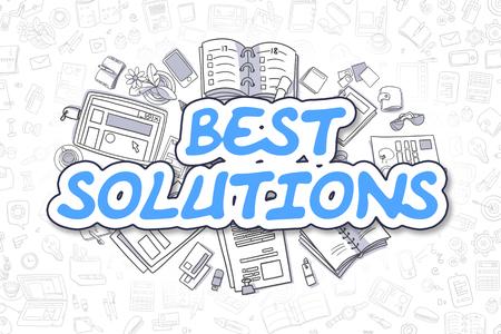 Best Solutions - Doodle Blue Inscription. Business Concept.