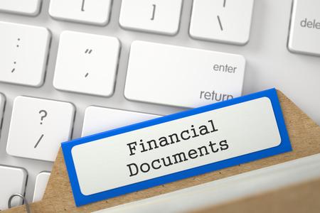 Archiv Lesezeichen von Kartenindex mit Finanzdokumenten. 3D