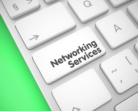 Networking Services - Message on White Keyboard Button. 3D.