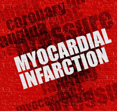 Gesundheitskonzept: Myokardinfarkt auf der Roten Mauer. Lizenzfreie Bilder