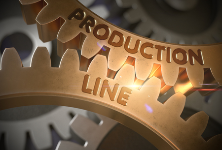 Production Line on the Golden Gears. 3D Illustration. Stock Photo