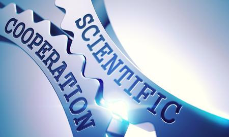 Wissenschaftliche Zusammenarbeit - Mechanismus der glänzenden Metallgetriebe. 3D Lizenzfreie Bilder