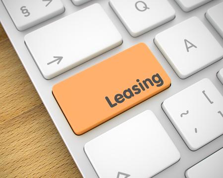 Leasing - Inschrift auf dem Orange Keyboard Button. 3D