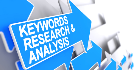 Schlüsselwörter Forschung und Analyse - Text auf blauem Zeiger. 3D
