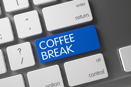 pause button: Blue Coffee Break Button on Keyboard. 3D.