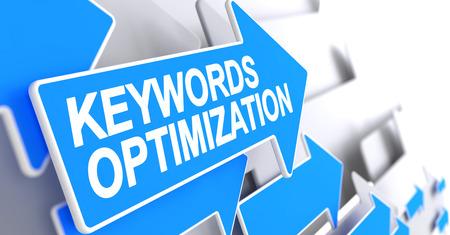 Keywords Optimization - Label on the Blue Arrow. 3D.