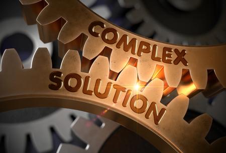 複雑なソリューション概念。黄金の歯車。3 D イラスト。