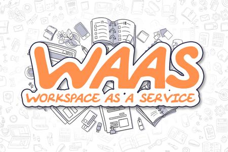 augmentation: WaaS - Cartoon Orange Text. Business Concept. Stock Photo