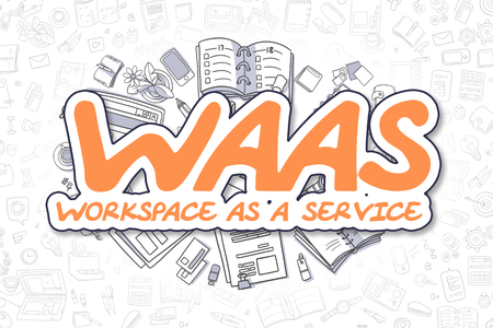WaaS - Cartoon Orange Text. Business Concept. Stock Photo