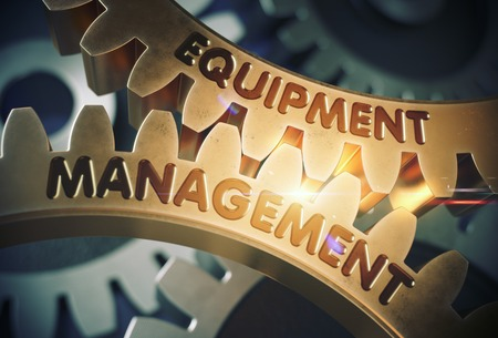 Equipment Management on the Golden Gears. 3D Illustration.