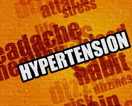 Modern medical concept: Hypertension - on the Wall with Word Cloud Around . Hypertension on Yellow Wall .