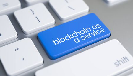 A Keyboard with a Blue Keypad - Blockchain As A Service - BaaS. Close Up View on the Modern Laptop Keyboard - Blockchain As A Service - BaaS Blue Keypad. 3D.