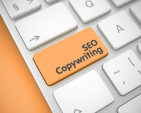 Online Service Concept: SEO Copywriting on Modernized Keyboard Background. Business Concept with Conceptual Enter Orange Button on Keyboard: SEO Copywriting. 3D.