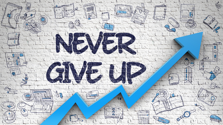 Brick Wall with Never Give Up Inscription and Blue Arrow. Business Concept. Never Give Up Drawn on White Brick Wall. Illustration with Doodle Design Icons. 3D.