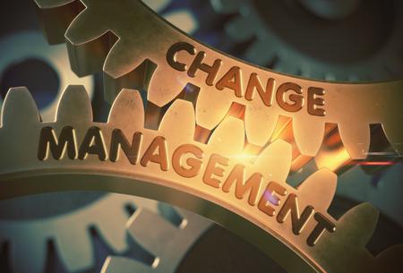 Change Management on the Mechanism of Golden Gears with Glow Effect. Change Management on Golden Metallic Cog Gears. 3D Rendering.