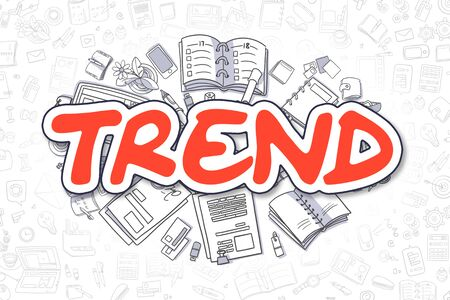 Trend Doodle Illustration of Red Inscription and Stationery Surrounded by Cartoon Icons. Business Concept for Web Banners and Printed Materials.