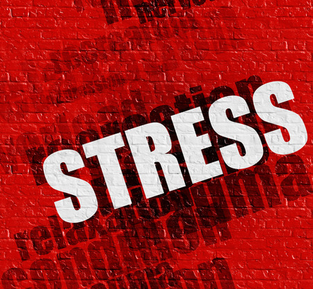 Modern medical concept: Red Wall with Stress on it . Stress - on the Brickwall with Word Cloud Around . Stock Photo