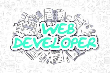 html: Business Illustration of Web Developer. Doodle Green Text Hand Drawn Cartoon Design Elements. Web Developer Concept.