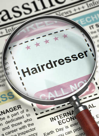 Newspaper with Jobs Hairdresser. Hairdresser - CloseUp View of Searching Job in Newspaper with Magnifying Lens. Job Seeking Concept. Blurred Image with Selective focus. 3D Illustration.