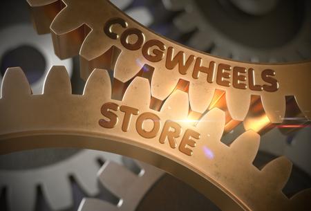 Cogwheels Store on the Mechanism of Golden Cog Gears. Golden Cogwheels with Cogwheels Store Concept. 3D Rendering. Lizenzfreie Bilder