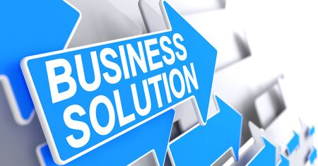 Business Solution, Text on Blue Pointer. Business Solution - Blue Cursor with a Message Indicates the Direction of Movement. 3D Render.