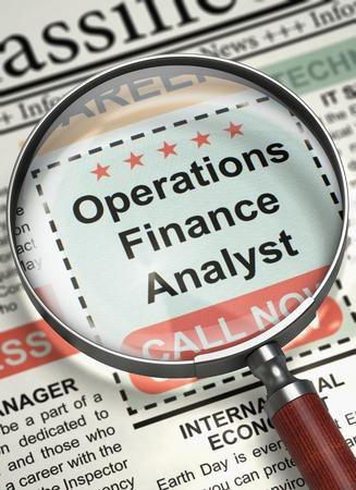 Column in the Newspaper with the Job Vacancy of Operations Finance Analyst. Operations Finance Analyst - Vacancy in Newspaper. Hiring Concept. Selective focus. 3D. Lizenzfreie Bilder