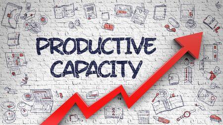 Produktive Kapazität - Erhöhen Sie das Konzept mit Doodle Icons rund um den weißen Brickwall-Hintergrund. Produktive Kapazität - moderne Art-Illustration mit Gekritzel-Gestaltungselementen. 3D.