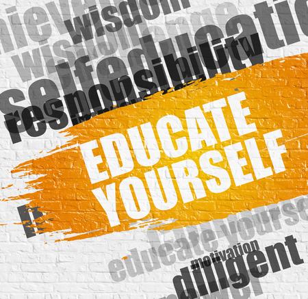 Business Education Concept: Educate Yourself - on White Brickwall with Wordcloud Around. Modern Illustration. Educate Yourself Modern Style Illustration on Yellow Distressed Paintbrush Stripe.
