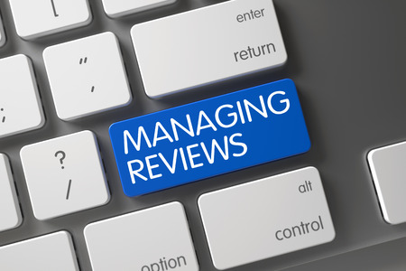 Managing Reviews Concept: Laptop Keyboard with Managing Reviews, Selected Focus on Blue Enter Button. 3D Render.