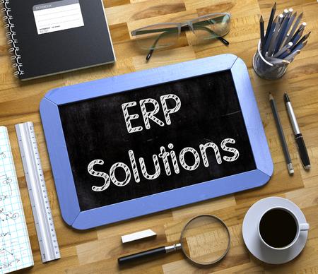 ERP Solutions Handwritten on Small Chalkboard. Small Chalkboard with ERP Solutions Concept. 3d Rendering.
