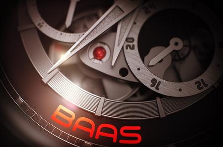 BaaS - Backend als Service - Beschriftung der Automatikuhr mit sichtbarem Mechanismus, Uhrwerk-Nahaufnahme. Luxus, Herren Vintage Zubehör. Zeitkonzept. 3D. Lizenzfreie Bilder