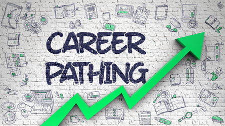 Career Pathing Inscription on the Modern Line Style Illustation. with Green Arrow and Doodle Icons Around. Career Pathing - Modern Style Illustration with Hand Drawn Elements. 3D.