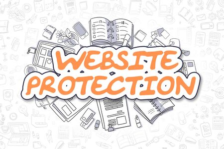 Doodle Illustration of Website Protection, Surrounded by Stationery. Business Concept for Web Banners, Printed Materials.