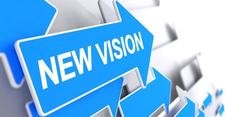 New Vision, Message on Blue Arrow. New Vision - Blue Cursor with a Text Indicates the Direction of Movement. 3D.