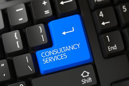 Blue Consultancy Services Tastatur auf der Tastatur. 3D Render. Lizenzfreie Bilder