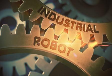 Industrial Robot on the Mechanism of Golden Metallic Gears. Industrial Robot on the Mechanism of Golden Cogwheels with Lens Flare. 3D Rendering.