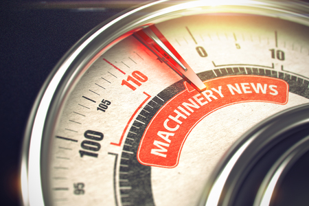 3D Render of a Conceptual Meter with Red Needle Pointing the Text Machinery News. Business Concept. 3D Render. Lizenzfreie Bilder