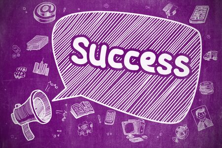 Yelling Horn Speaker with Text Success on Speech Bubble. Doodle Illustration. Business Concept. Speech Bubble with Inscription Success Cartoon. Illustration on Purple Chalkboard. Advertising Concept. Lizenzfreie Bilder