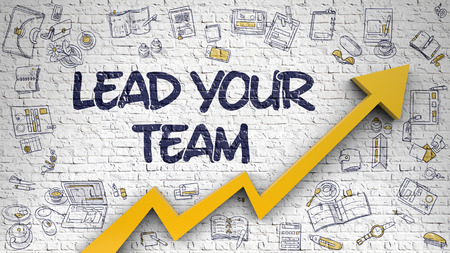 Lead Your Team - Line Style Illustration with Doodle Elements. Lead Your Team - Enhancement Concept. Inscription on White Brick Wall with Hand Drawn Icons Around. 3D. Lizenzfreie Bilder