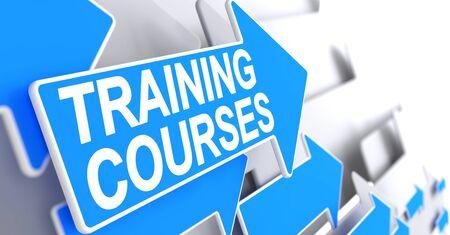 Training Courses, Message on the Blue Arrow. Training Courses - Blue Arrow with a Message Indicates the Direction of Movement. 3D. Lizenzfreie Bilder