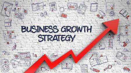 Business Growth Strategy Inschrift auf dem modernen Stil Illustation. mit rotem Pfeil und handgezeichneten Ikonen herum. Business Growth Strategie auf Brick Wall gezeichnet. Illustration mit Gekritzel-Ikonen. 3D