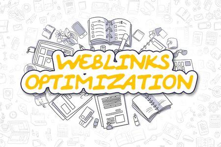 Weblinks Optimierung Doodle Illustration von gelben Text und Briefpapier, umgeben von Cartoon-Icons. Geschäftskonzept für Web-Banner und gedruckte Materialien. Lizenzfreie Bilder